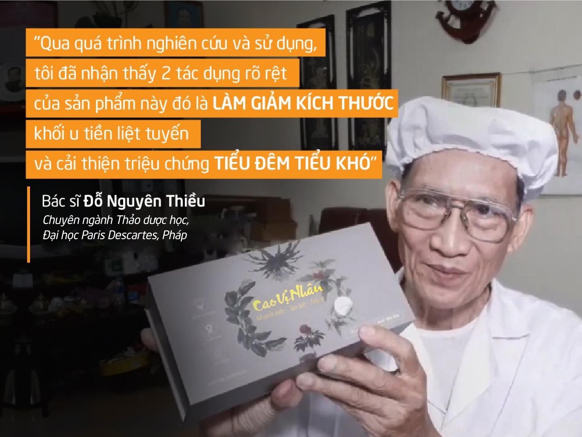 Bác sĩ Đỗ Nguyên Thiều nhận xét về sản phẩm Cao Vị Nhân